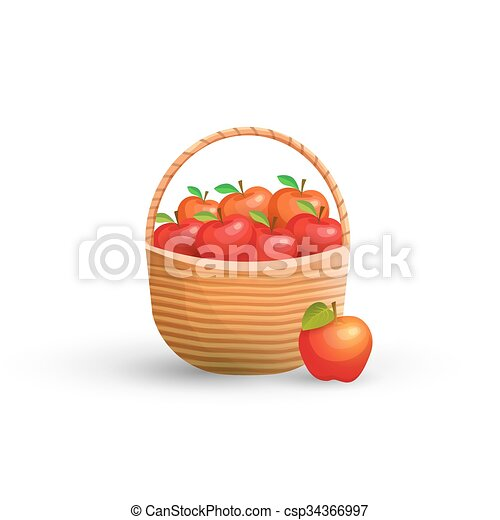 Basket with red apples - csp34366997