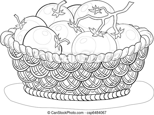 Basket with tomatoes, contours - csp6484067