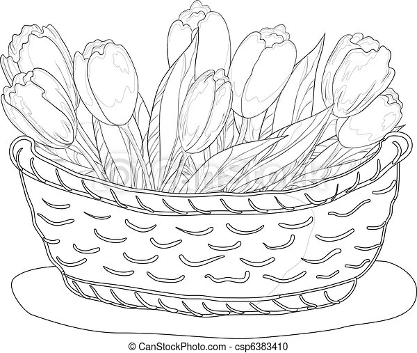 Basket with tulips, contour - csp6383410