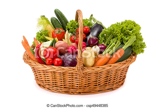 Basket with various fresh vegetables - csp49448385