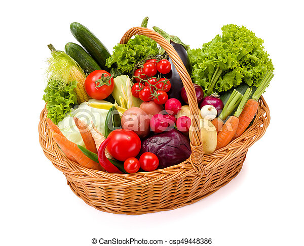 Basket with various fresh vegetables - csp49448386