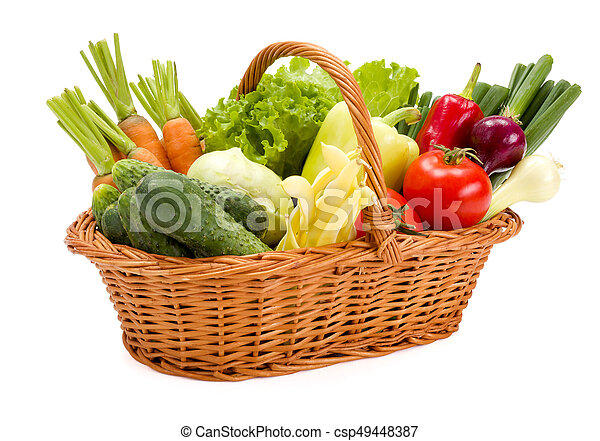 Basket with various fresh vegetables - csp49448387