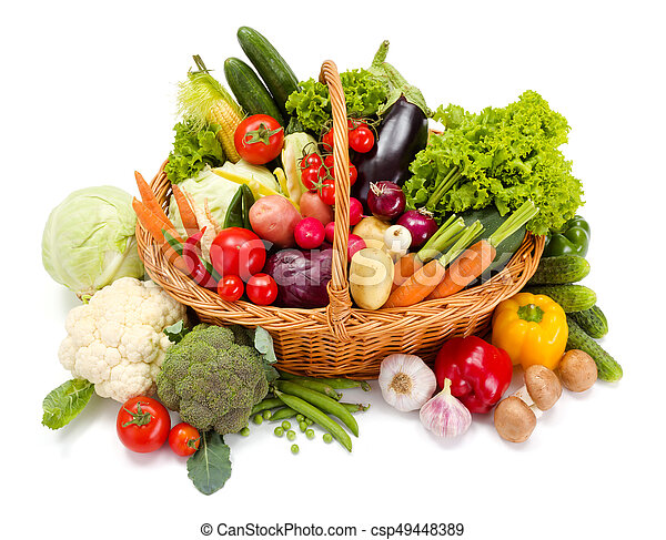Basket with various fresh vegetables - csp49448389