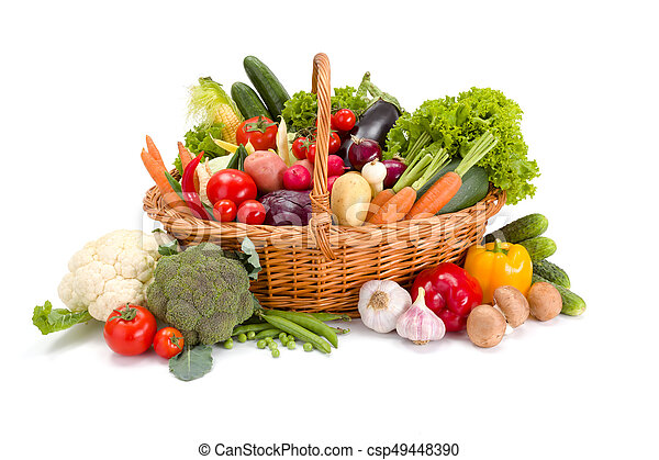 Basket with various fresh vegetables - csp49448390