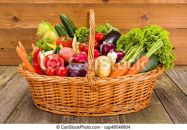 Basket with various fresh vegetables - csp49546604