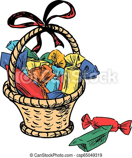 Basket with various sweets - csp65049319