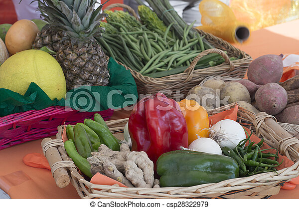 basket with vegetables and fruits of various kinds - csp28322979