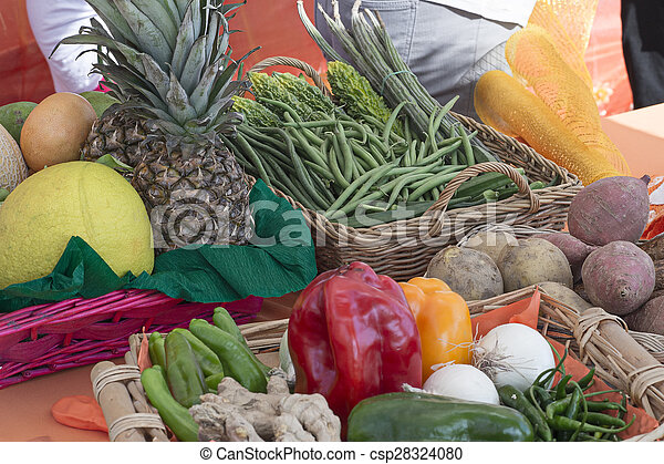 basket with vegetables and fruits of various kinds - csp28324080