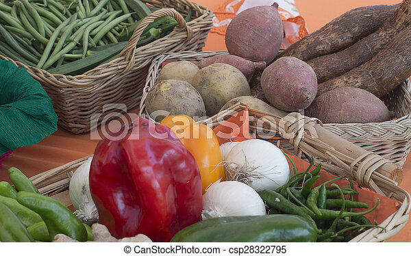 basket with vegetables and fruits of various kinds - csp28322795