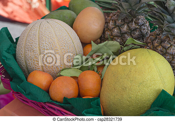basket with vegetables and fruits of various kinds - csp28321739