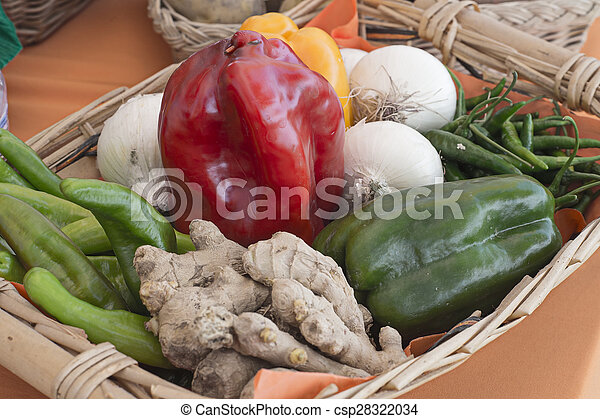 basket with vegetables and fruits of various kinds - csp28322034