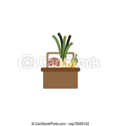 basket with vegetables flat style icon - csp75695152