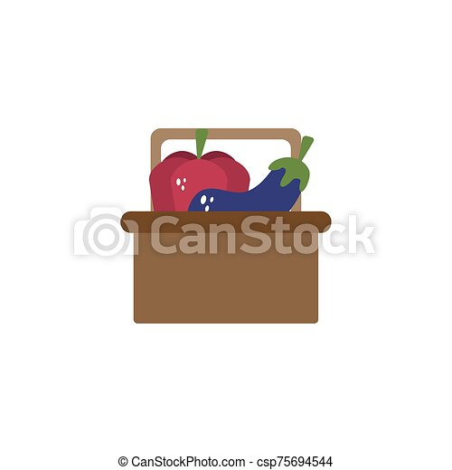 basket with vegetables flat style icon - csp75694544