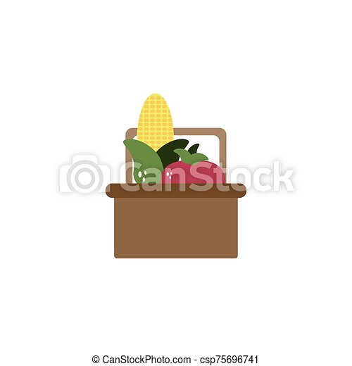 basket with vegetables flat style icon - csp75696741