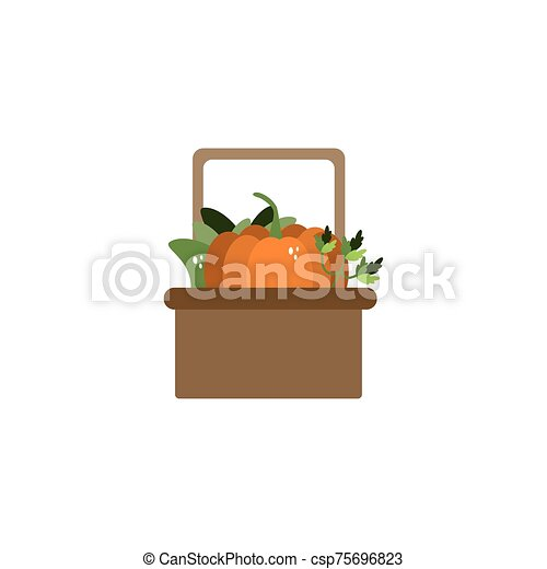 basket with vegetables flat style icon - csp75696823