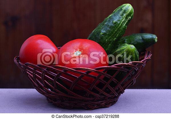 Basket with vegetables - csp37219288