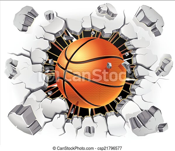 Basketball and Old Plaster wall - csp21796577