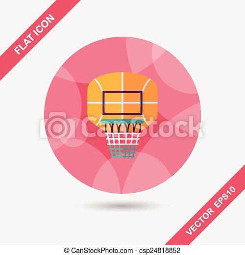 basketball backboard flat icon with long shadow,eps10 - csp24818852