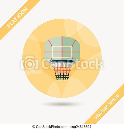 basketball backboard flat icon with long shadow,eps10 - csp24818594