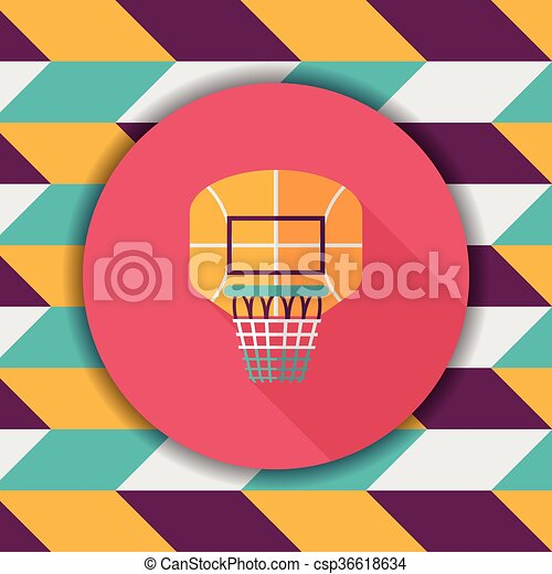 basketball backboard flat icon with long shadow,eps10 - csp36618634