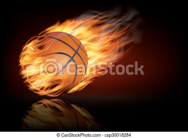 Basketball background with a flaming ball.  - csp30018284