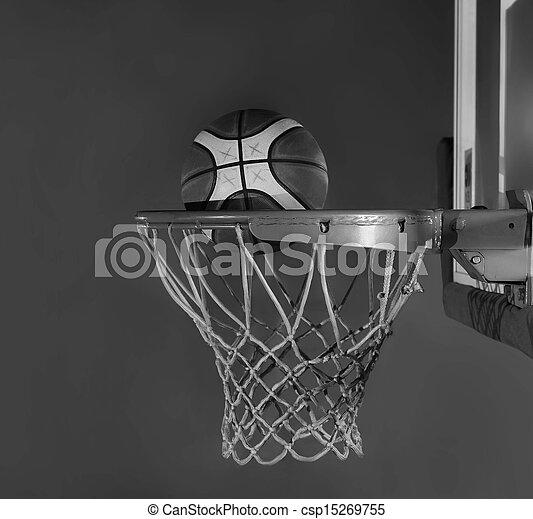 basketball ball and net on grey bac - csp15269755