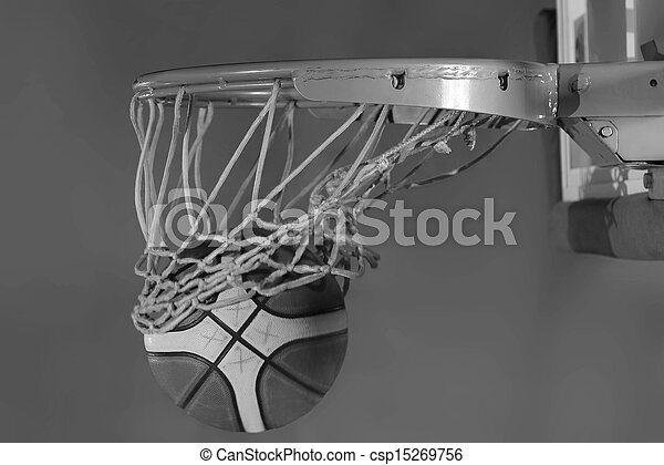 basketball ball and net on grey bac - csp15269756