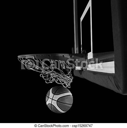 basketball ball and net on grey bac - csp15269747