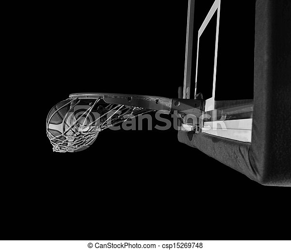 basketball ball and net on grey bac - csp15269748