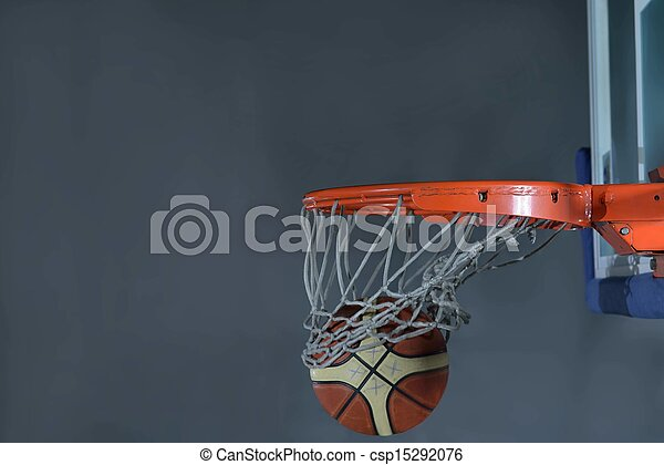 basketball ball and net on grey background - csp15292076
