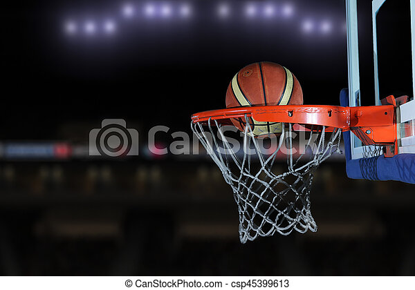 basketball ball and net on grey background - csp45399613