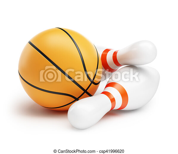 Basketball ball Bowling on a white background 3d Illustrations - csp41996620
