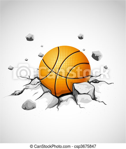 basketball ball in cracked stone - csp3675847