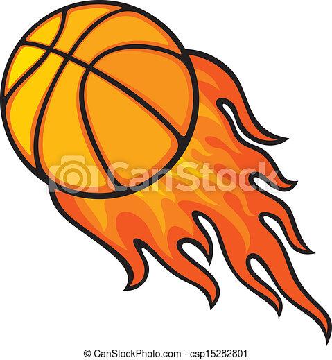basketball ball in fire - csp15282801
