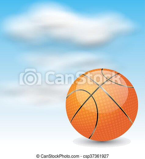 Basketball Ball on Cloudy Sky Background - csp37361927