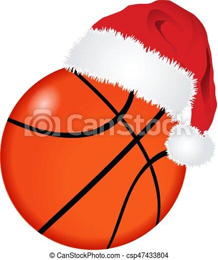Basketball ball with santa hat - csp47433804
