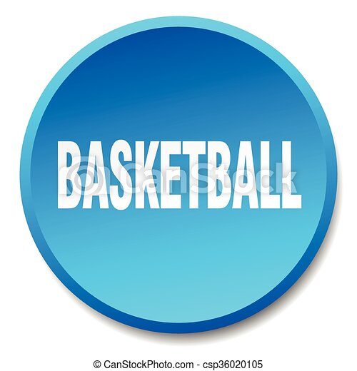 basketball blue round flat isolated push button - csp36020105