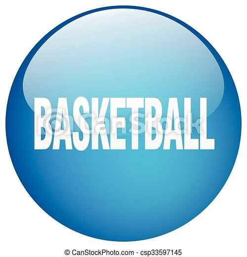 basketball blue round gel isolated push button - csp33597145