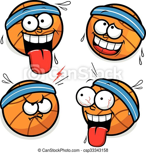 Vector Illustrations Of Funny Basketball Cartoon Faces In