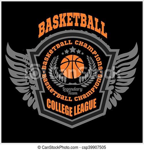 Basketball championship logo set and design elements - csp39907505