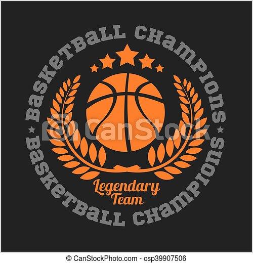 Basketball championship logo set and design elements - csp39907506