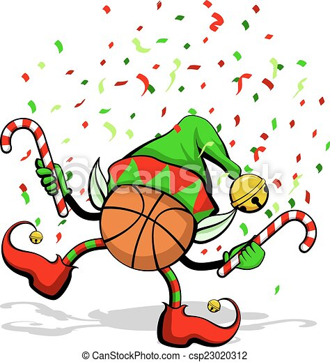 Basketball christmas elf. A basketball celebrating ...