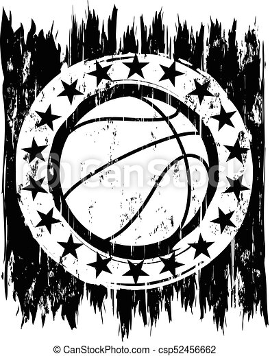 Abstract Vector Illustration Black And White Basketball Ball On