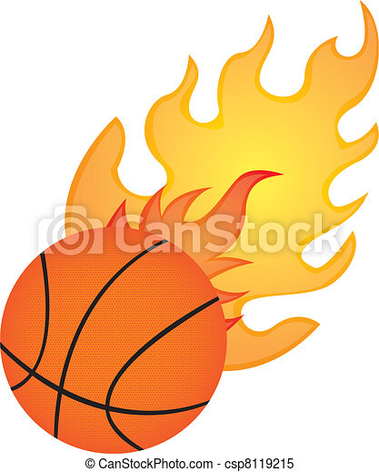 basketball with fire isolated over whtite background vector