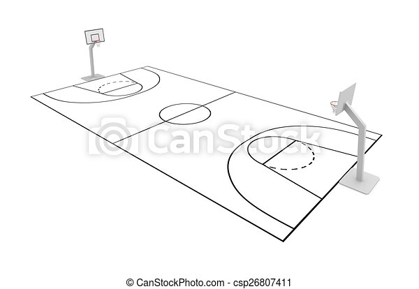 basketball court isolated on white