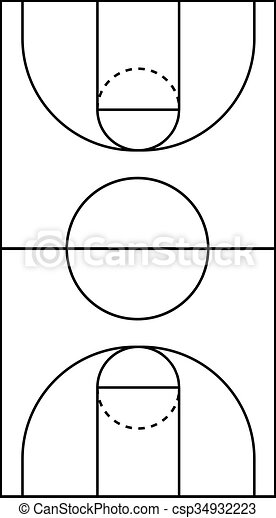 basketball court vector a4 size vertical basketball court line vector