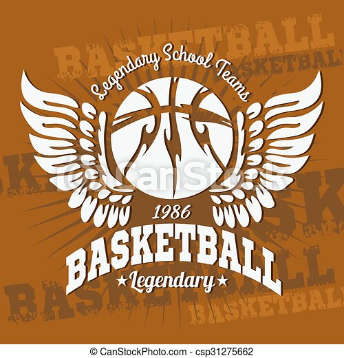 Basketball emblem for T-shirts, Posters, Banners, Prints - csp31275662