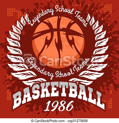 Basketball emblem for T-shirts, Posters, Banners, Prints - csp31275658