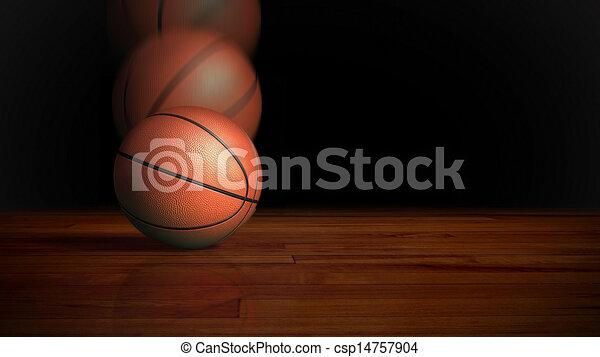 Basketball falling on wood floor. Basketball on the wood ...