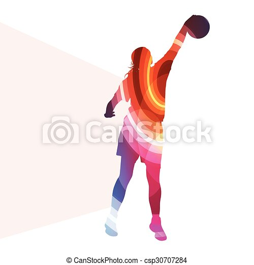 Basketball female woman player silhouette illustration background colorful concept - csp30707284